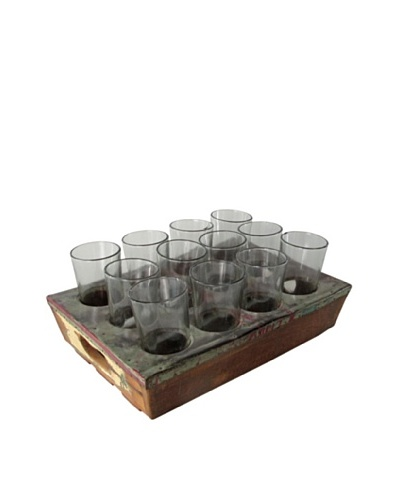 Nine Hole Wood Drink Tray & Glasses