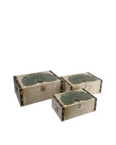 Set of 3 Peacock Storage Boxes