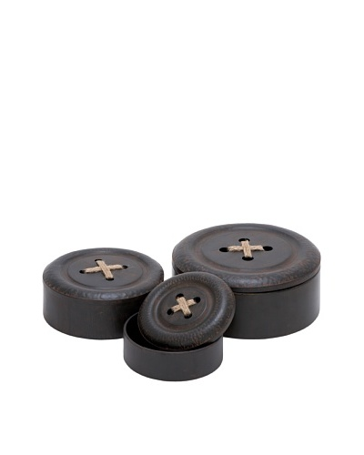 Set of 3 Metal Button Boxes