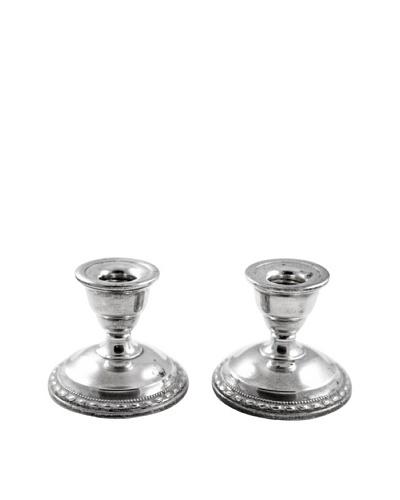 Vintage Sterling Silver Short Candlestick Holders, c.1940s