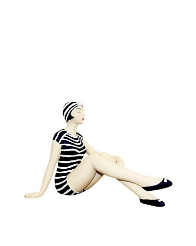 Large Resin Beach Beauty in Navy and White Striped Swimsuit with Matching Hat