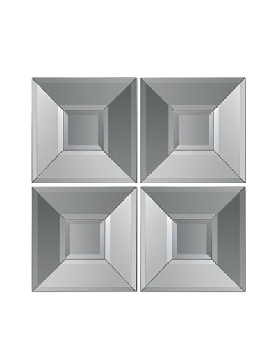 Set of 4 Square Beveled Mirrors