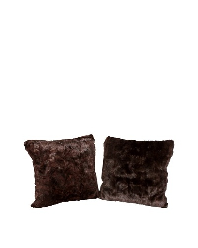 Pair of Upcycled Mink Pillows, Brown/Black, 18 x 18