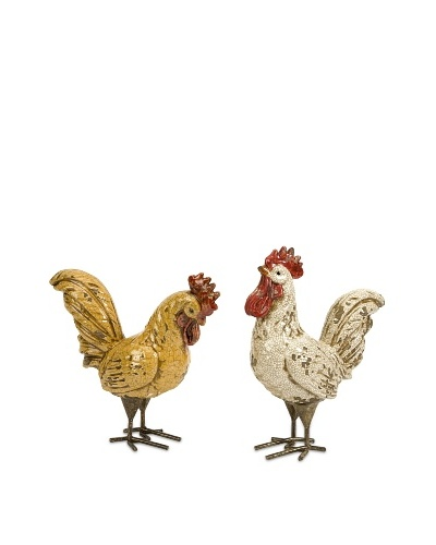 Set of 2 Parson Roosters, Orange/White