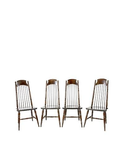Set of 4 Nesto Mid-Century Dining Chairs, Brown