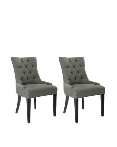 Safavieh Mercer Collection Heather Linen Nailhead Dining Chair, Set of 2