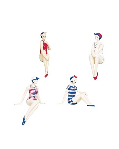 Set of 4 Mini Resin Beach Beauties in Red, White and Blue Swimsuits