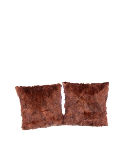 Pair of Upcycled Red Fox Pillows, Brown, 18 x 18