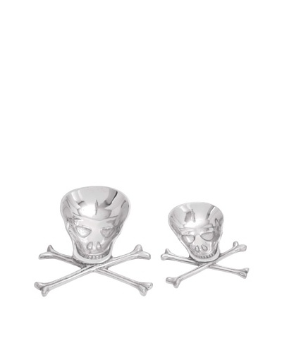 Set of 2 Skull and Crossbones Serving Plates, Silver