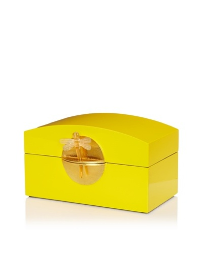 Lacquer Box With Horn Dragonfly Key & Round Gold Lock, YellowAs You See