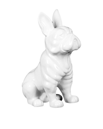 Ceramic French Bulldog, White