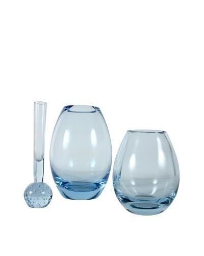 Set of 3 Holmegaard Glass Hellas Vases, Blue