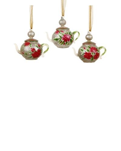 Set of 3 Glass Tea Pot Ornaments