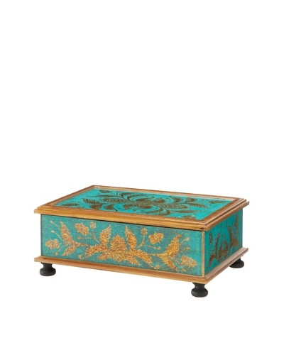Rectangular Reverse-Painted Glass Hinged Box, Turquoise