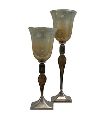 Set of 2 Ira Candle Holders, White/Brown/Silver