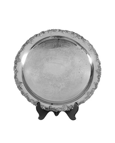 Round Silver Plate Platter, Silver