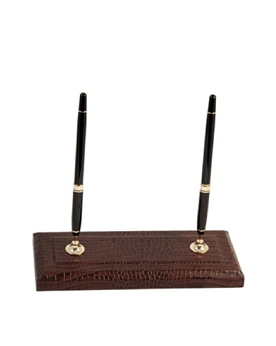 Croc-Embossed Leather Double Pen Stand with Gold-Plated Accents