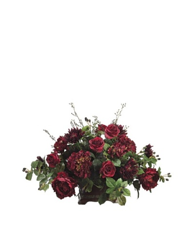 Rose, Mum & Hydrangea Arrangement, Burgundy/Wine