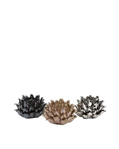 Set of 3 Metallic Flower Votive Holders