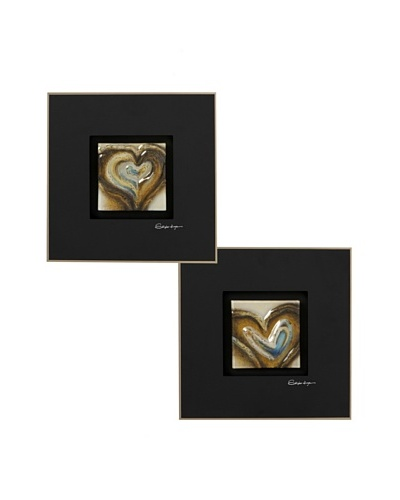 Pair of Hearts Tan/Multi Painted Tiles in Glass