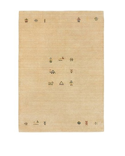 Hand-Knotted Luribaft Gabbeh Riz Wool Rug, Cream, 4' x 5' 9