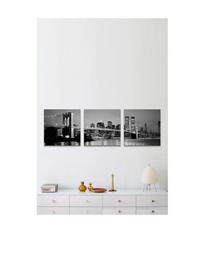 New York City Brooklyn Bridge at Dusk Panoramic Giclée Canvas Print Triptych