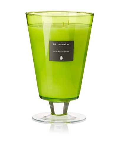 Illuminaria Wax Filled Vase Candle Jar, Green Verdant Citron, 55 Oz.