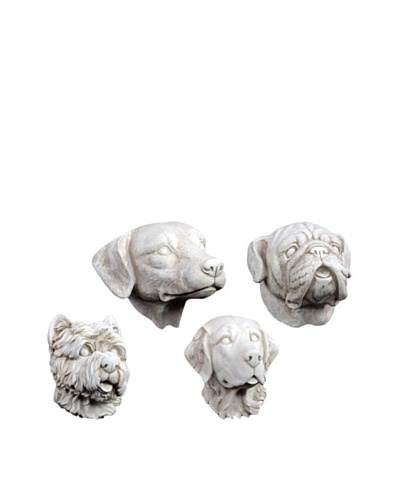 Set of 4 Dog Heads Wall Décor, White