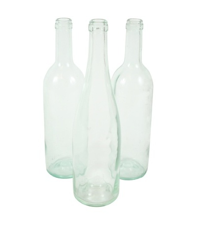 Set of 3 French Wine Bottles Light Blue, Clear