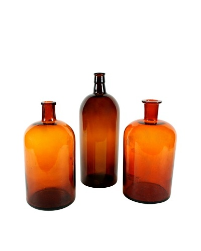 Set of 3 French Apothecary Bottles, Brown