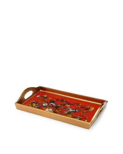 Reverse-Painted Glass Rectangular Tray, Red