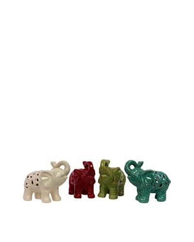 Set of 4 Assorted Ceramic Elephants