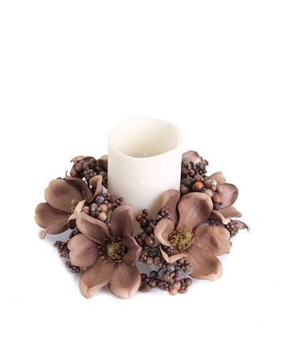 Magnolia with Berry Candle Ring, Brown