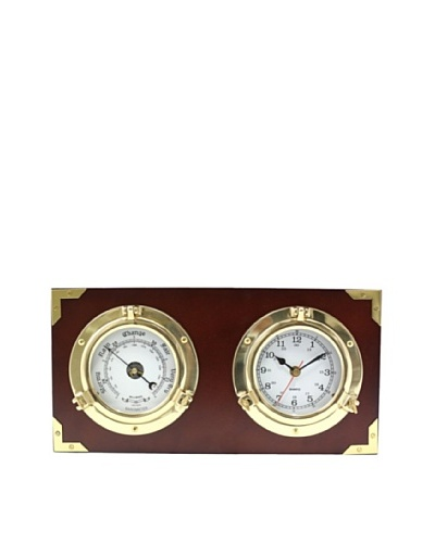 Two Porthole Quartz Clock & Barometer on Teak Wood