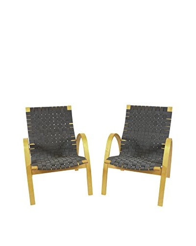Pair of Scandinavian Basket Weave Chairs, Black/Silver