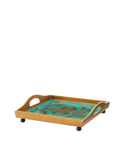 Reverse-Painted Glass Square Tray, Turquoise