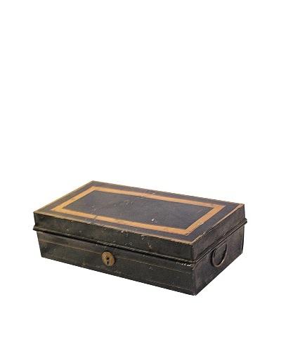 Tin Box with Lock, Black/Gold