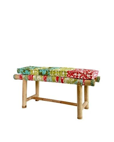 Bamboo Bench With Cushion, Retro