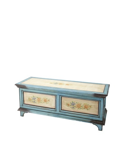 Hand-Made Country Storage Trunk, Turquoise/Off-White