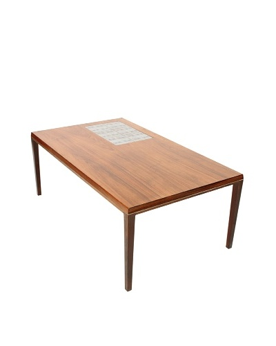 Mid-Century Modern Coffee Table, Brown/Blue