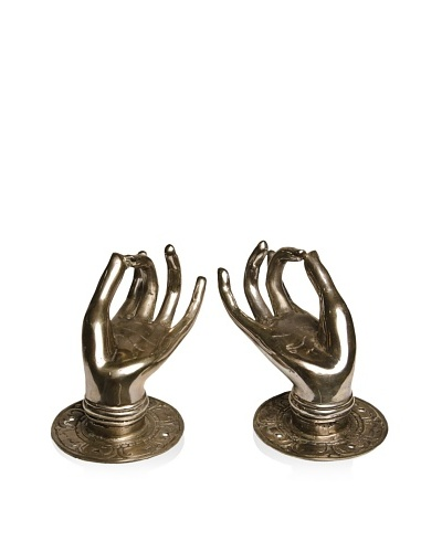 Mudra Buddha Hand with Fingers Touching, Silver
