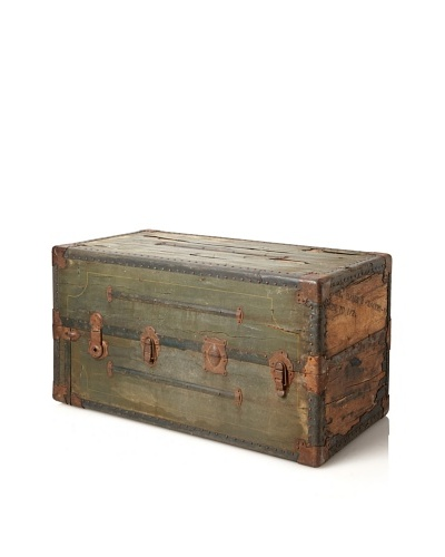 Vintage Antique Steamer Trunk, Antique Green