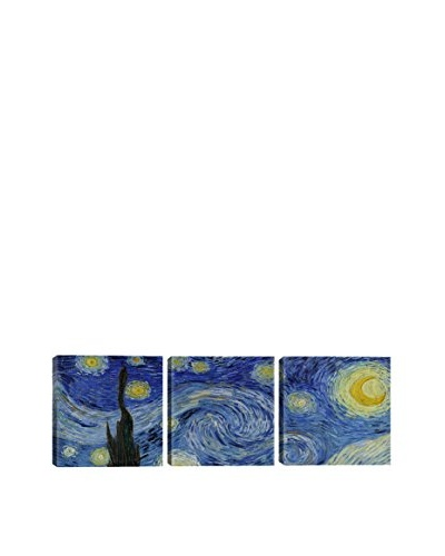 Vincent Van Gogh The Starry Night (Panoramic) 3-Piece Canvas Print