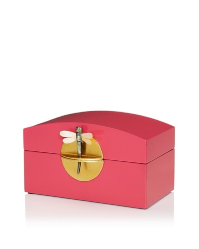 Lacquer Box With Horn Dragonfly Key & Round Gold Lock, Fuchsia
