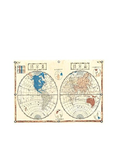 Japanese Map of the World in Two Hemispheres (1848) by Shincho Canvas Print