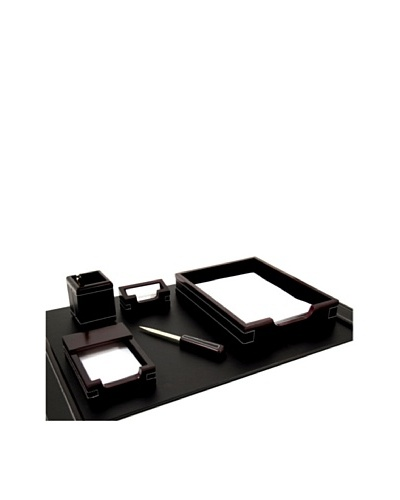 6-Piece Wood & Leather Desk Set, Cherry/Black