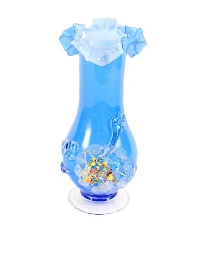 1960's Art Glass Vase, Blue/White/Clear