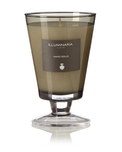 Illuminaria Wax Filled Vase Candle Jar, Smoke Gray Narcissus, 8 Oz.