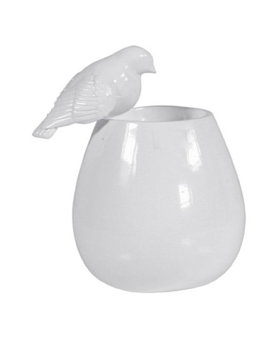 Mini Vase with Bird, White