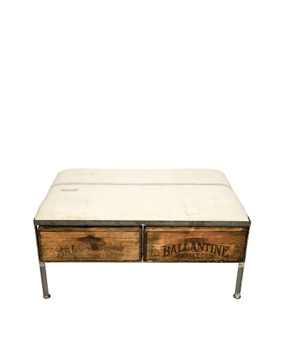 Phillip Two-Drawer Repurposed Crate Storage Bench